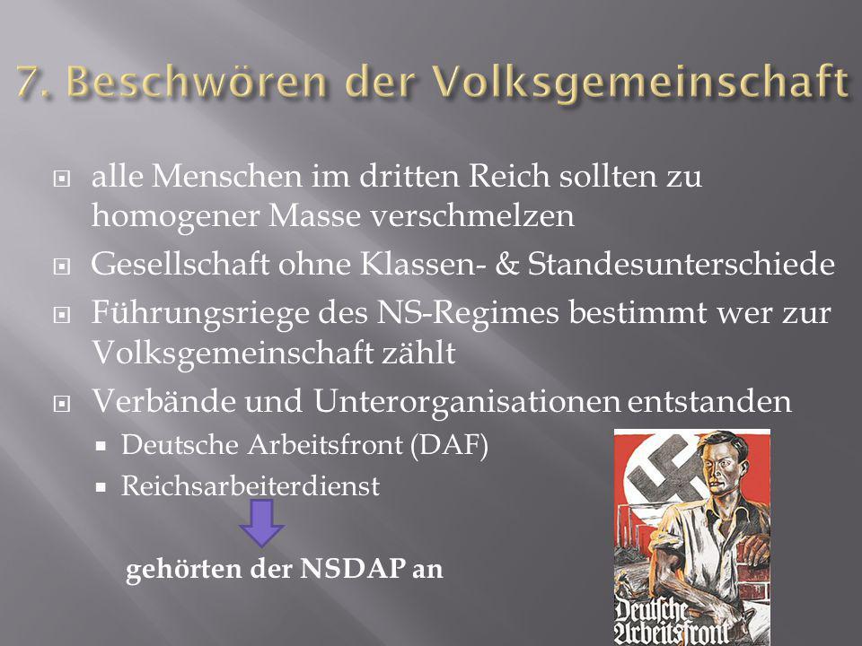  alle Menschen im dritten Reich sollten zu homogener Masse verschmelzen  Gesellschaft ohne Klassen- & Standesunterschiede  Führungsriege des NS-Reg