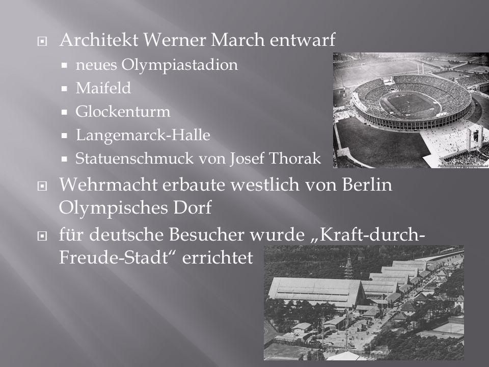  Architekt Werner March entwarf  neues Olympiastadion  Maifeld  Glockenturm  Langemarck-Halle  Statuenschmuck von Josef Thorak  Wehrmacht erbau