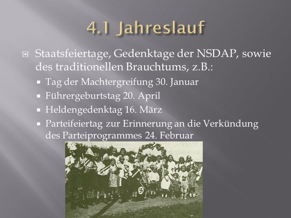  Staatsfeiertage, Gedenktage der NSDAP, sowie des traditionellen Brauchtums, z.B.:  Tag der Machtergreifung 30. Januar  Führergeburtstag 20. April
