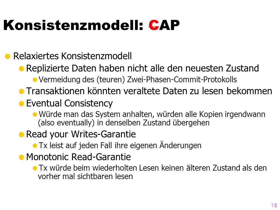"""CAP-Theorem  Internet-scale Skalierbarkeit  CAP-Theorem: nur 2 von 3 Wünschen erfüllbar  Konsistenz (Consistency)  Zuverläassigkeit/Verfügbarkeit (Availability)  Partitionierungs-Toleranz  Die Welt ist """"hart – man muss sich entscheiden  CAP: (verteilte) Datenbanksysteme mit Replikation (ACID)  CAP: Key Value Stores, NoSQL Datenbanken, Cloud- Anwendungen (  später mehr)  Literatur: Eric Brewer."""