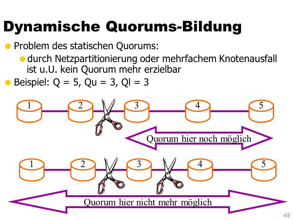 48 Gößeres Beispiel [Agrawal und Abadi: The generalized tree quorum protocol..., ACM TODS, Dez. 1992] q = (3,2) Wenn man die Mehrheit der Kinder hat,