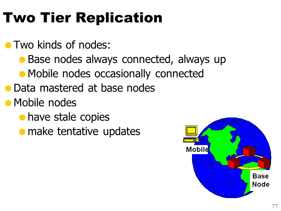 76 Safe Approach  Each object mastered at a node  Update Transactions only read and write master items  Lazy replication to other nodes  Allow reads of stale data (on user request)  PROBLEMS:  doesn't support mobile users  deadlocks explode with scaleup  .
