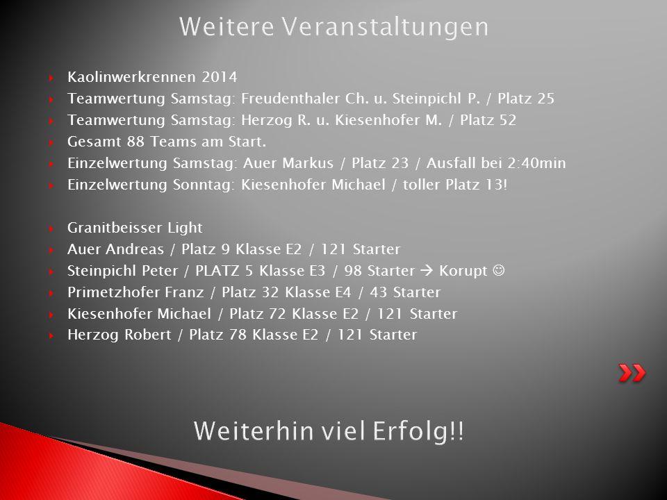  Kaolinwerkrennen 2014  Teamwertung Samstag: Freudenthaler Ch. u. Steinpichl P. / Platz 25  Teamwertung Samstag: Herzog R. u. Kiesenhofer M. / Plat