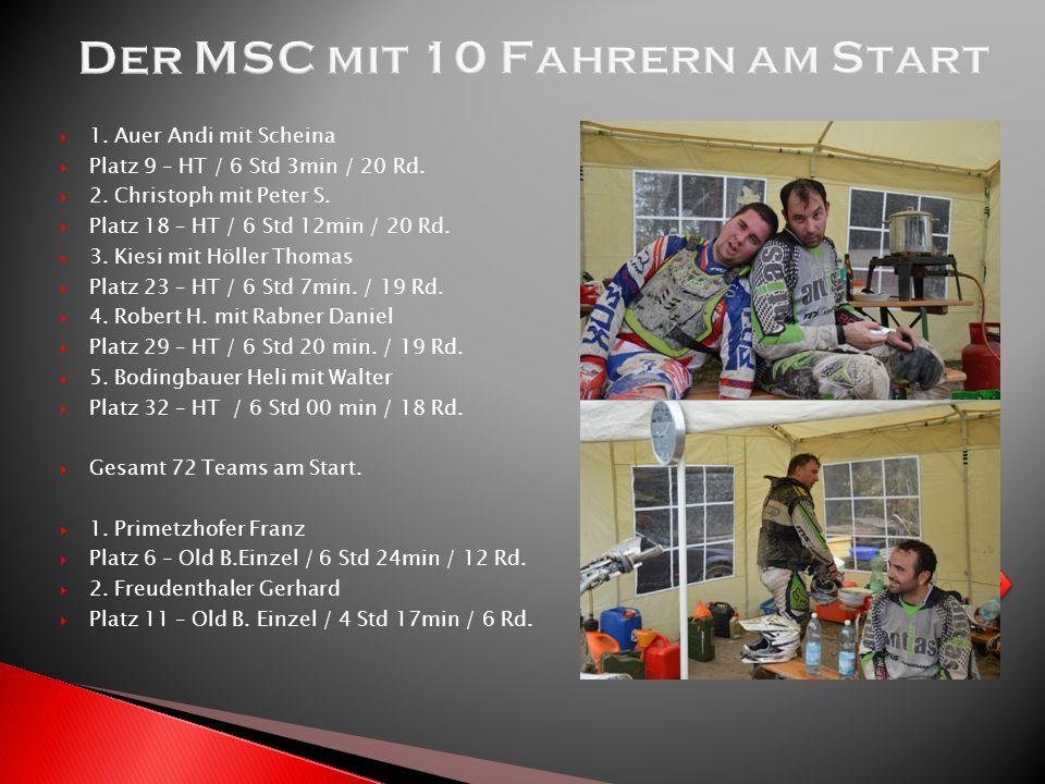  1. Auer Andi mit Scheina  Platz 9 – HT / 6 Std 3min / 20 Rd.  2. Christoph mit Peter S.  Platz 18 – HT / 6 Std 12min / 20 Rd.  3. Kiesi mit Höll