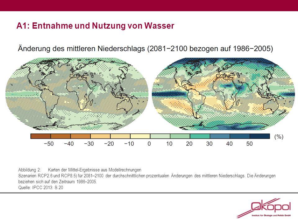 A1: Entnahme und Nutzung von Wasser Abbildung3:Veränderung der jährlichen Niederschläge im Zeitraum zwischen 1961 bis 2006 Angaben in mm Wassersäule in der Dekade (10 Jahre), Rot zeigt eine Abnahme des Niederschlages an, Blau zeigt eine Erhöhung des Niederschlages an.