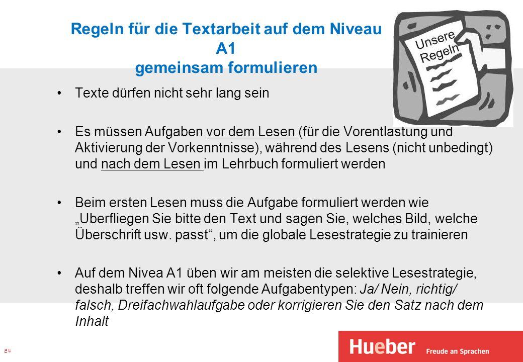 Regeln für die Textarbeit auf dem Niveau A1 gemeinsam formulieren Texte dürfen nicht sehr lang sein Es müssen Aufgaben vor dem Lesen (für die Vorentla