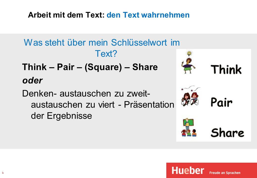 Arbeit mit dem Text: den Text wahrnehmen Was steht über mein Schlüsselwort im Text? Think – Pair – (Square) – Share oder Denken- austauschen zu zweit-
