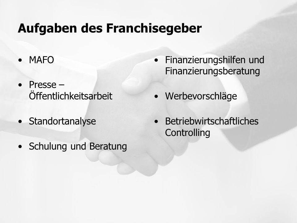 Aufgaben des Franchisegeber MAFO Presse – Öffentlichkeitsarbeit Standortanalyse Schulung und Beratung Finanzierungshilfen und Finanzierungsberatung We