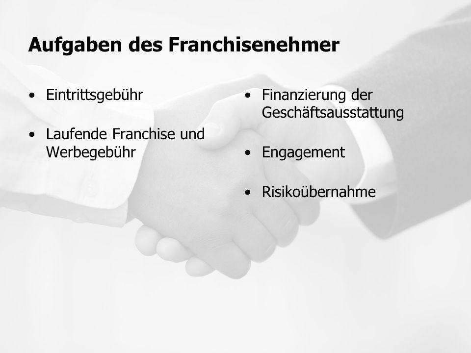 Aufgaben des Franchisenehmer Eintrittsgebühr Laufende Franchise und Werbegebühr Finanzierung der Geschäftsausstattung Engagement Risikoübernahme