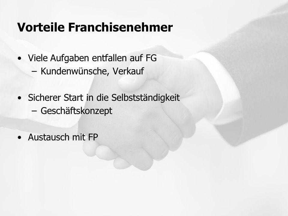 Vorteile Franchisenehmer Viele Aufgaben entfallen auf FG –Kundenwünsche, Verkauf Sicherer Start in die Selbstständigkeit –Geschäftskonzept Austausch m