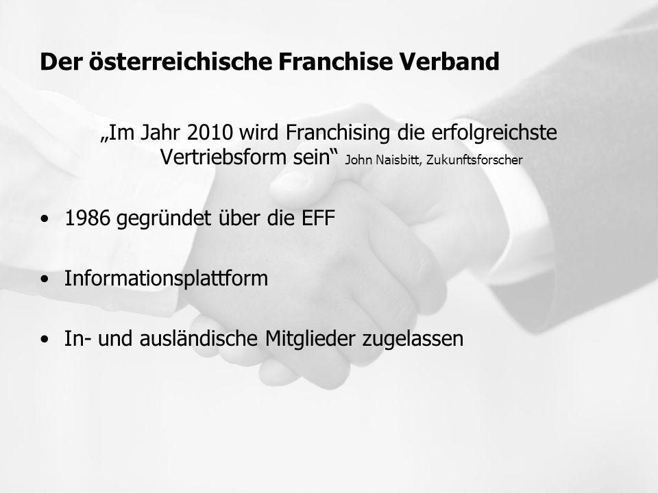 """Der österreichische Franchise Verband """"Im Jahr 2010 wird Franchising die erfolgreichste Vertriebsform sein"""" John Naisbitt, Zukunftsforscher 1986 gegrü"""