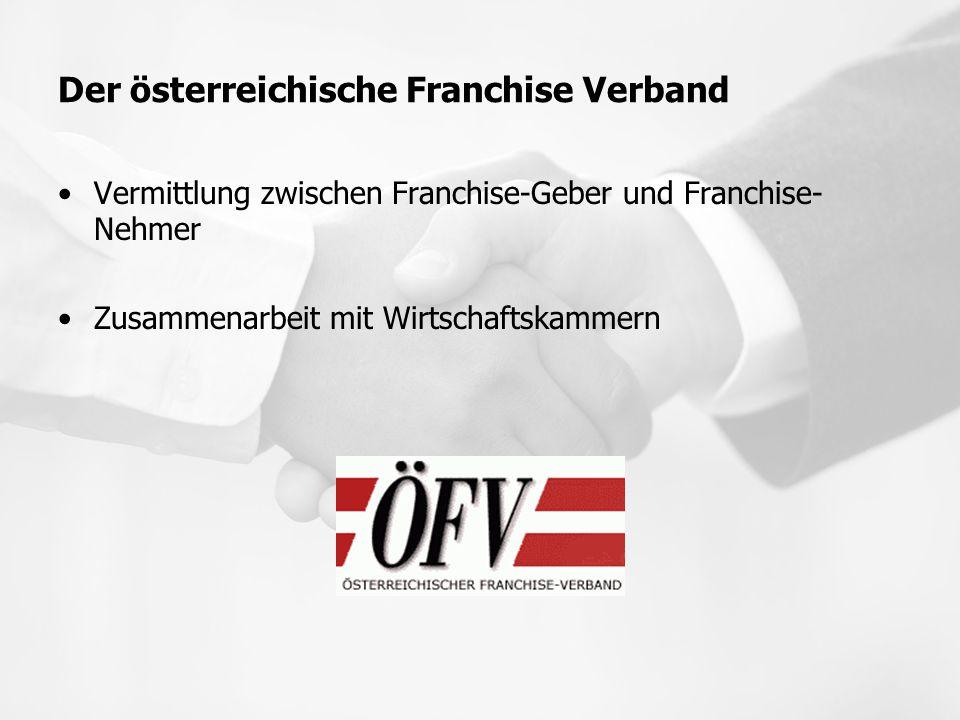 Der österreichische Franchise Verband Vermittlung zwischen Franchise-Geber und Franchise- Nehmer Zusammenarbeit mit Wirtschaftskammern