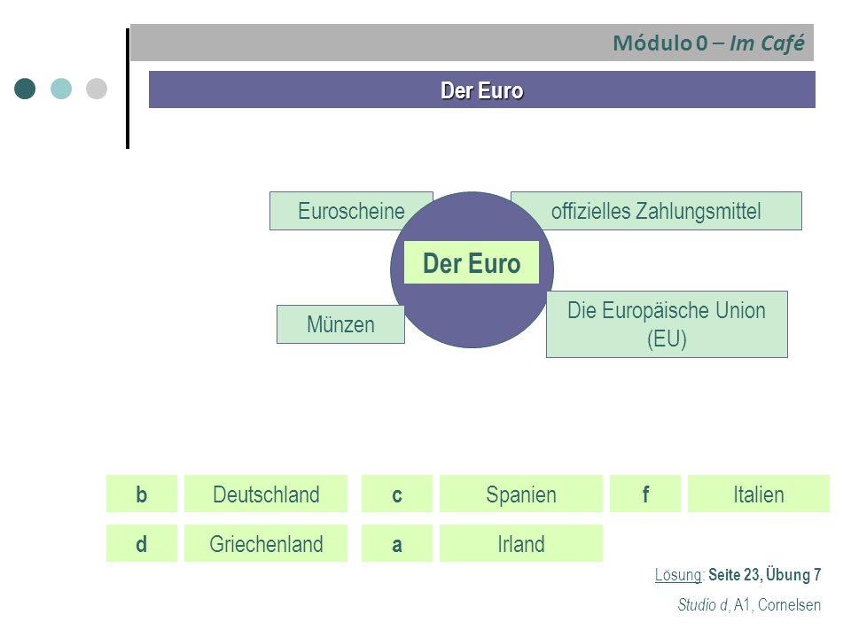 Der Euro Euroscheineoffizielles Zahlungsmittel Der Euro Die Europäische Union (EU) Münzen Lösung: Seite 23, Übung 7 Studio d, A1, Cornelsen b Deutschl