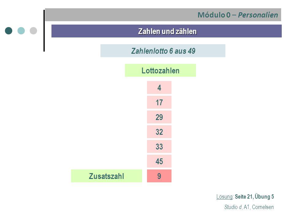 Lösung: Seite 21, Übung 5 Studio d, A1, Cornelsen Zahlen und zählen Zahlen und zählen Zahlenlotto 6 aus 49 Lottozahlen 4 17 29 32 33 45 Zusatszahl9 Mó