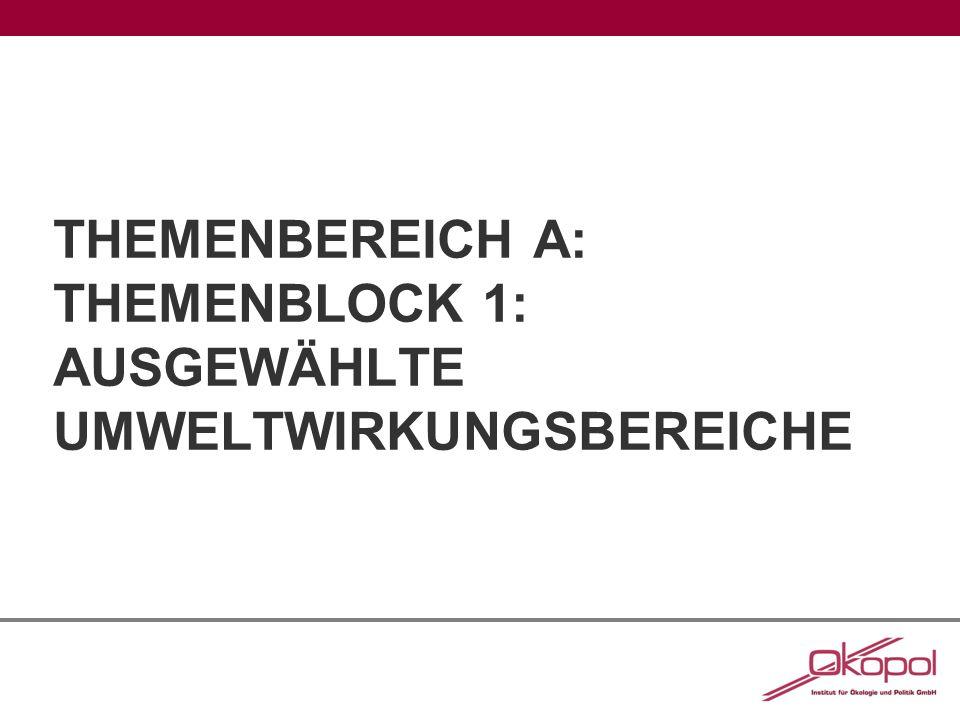 THEMENBEREICH A: THEMENBLOCK 1: AUSGEWÄHLTE UMWELTWIRKUNGSBEREICHE