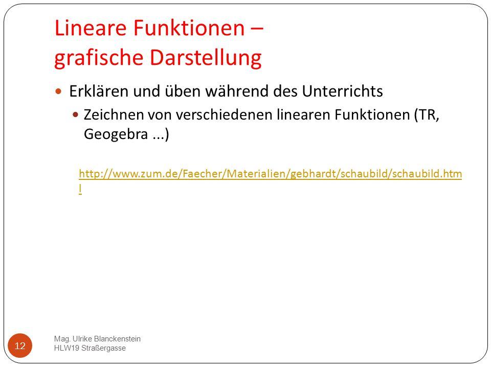 12 Lineare Funktionen – grafische Darstellung Erklären und üben während des Unterrichts Zeichnen von verschiedenen linearen Funktionen (TR, Geogebra..