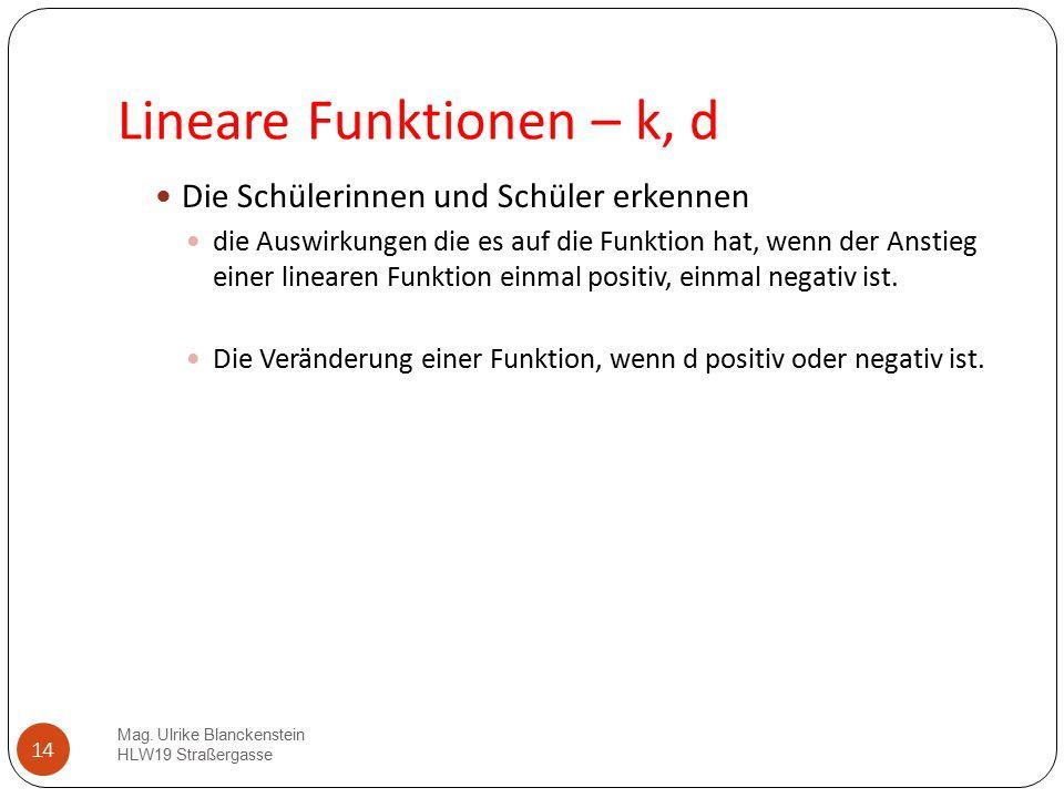 14 Lineare Funktionen – k, d Die Schülerinnen und Schüler erkennen die Auswirkungen die es auf die Funktion hat, wenn der Anstieg einer linearen Funkt
