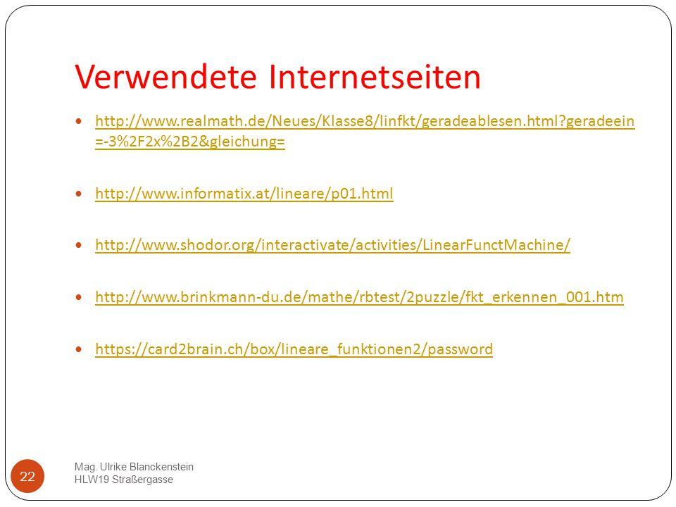 22 Verwendete Internetseiten http://www.realmath.de/Neues/Klasse8/linfkt/geradeablesen.html?geradeein =-3%2F2x%2B2&gleichung= http://www.realmath.de/N