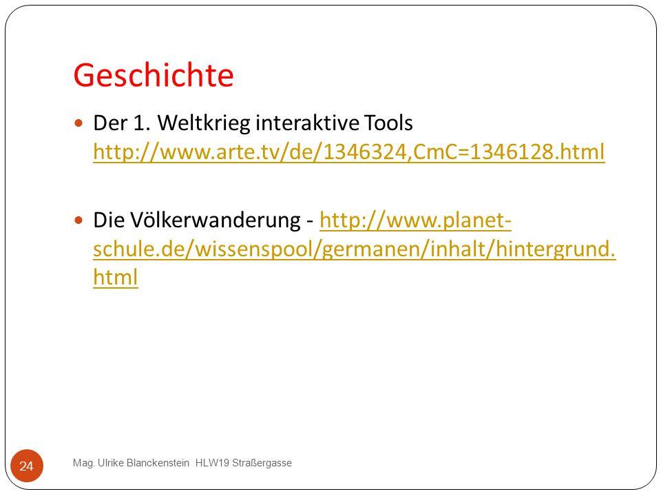 24 Geschichte Mag. Ulrike Blanckenstein HLW19 Straßergasse Der 1. Weltkrieg interaktive Tools http://www.arte.tv/de/1346324,CmC=1346128.html http://ww