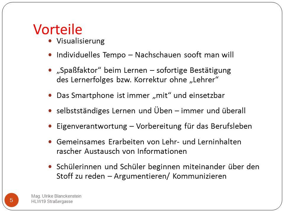 """5 Vorteile Mag. Ulrike Blanckenstein HLW19 Straßergasse Visualisierung Individuelles Tempo – Nachschauen sooft man will """"Spaßfaktor"""" beim Lernen – sof"""