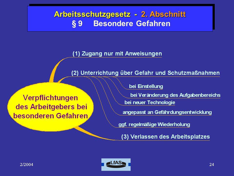 2/200424 Arbeitsschutzgesetz 1.Abschnitt - Allgemeine Vorschriften Arbeitsschutzgesetz - 2.