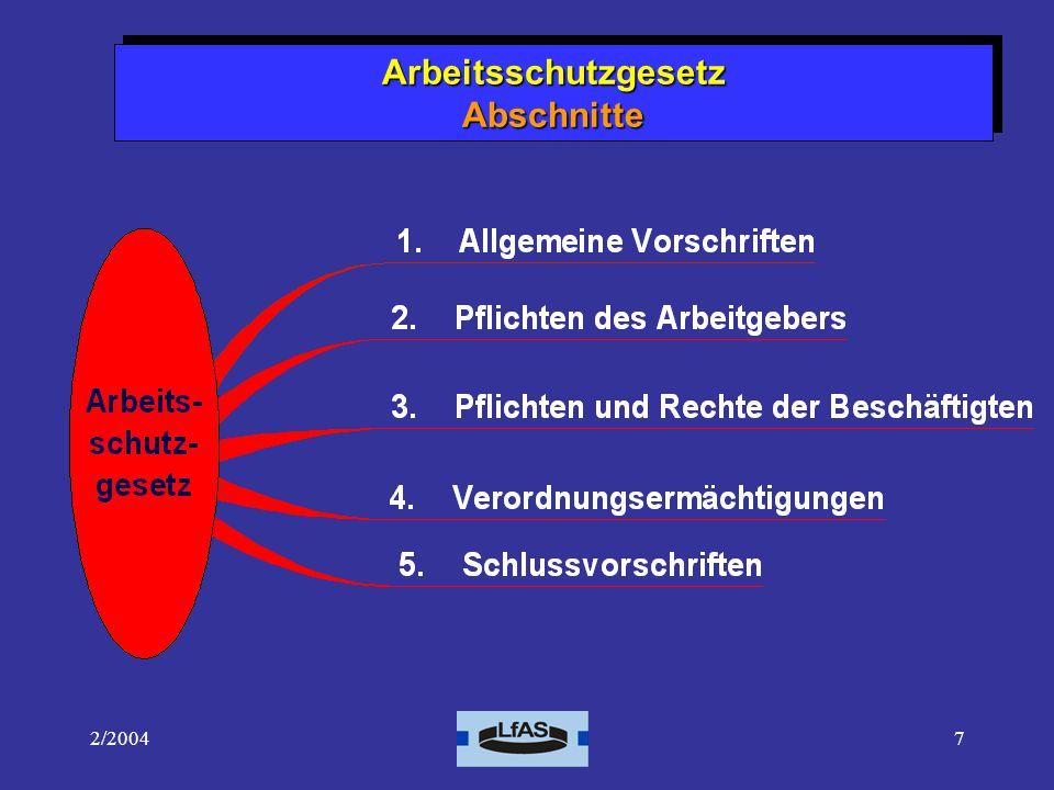 2/20047 Arbeitsschutzgesetz Abschnitte