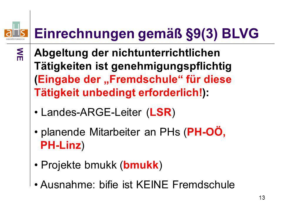 """13 Einrechnungen gemäß §9(3) BLVG WE Abgeltung der nichtunterrichtlichen Tätigkeiten ist genehmigungspflichtig (Eingabe der """"Fremdschule"""" für diese Tä"""
