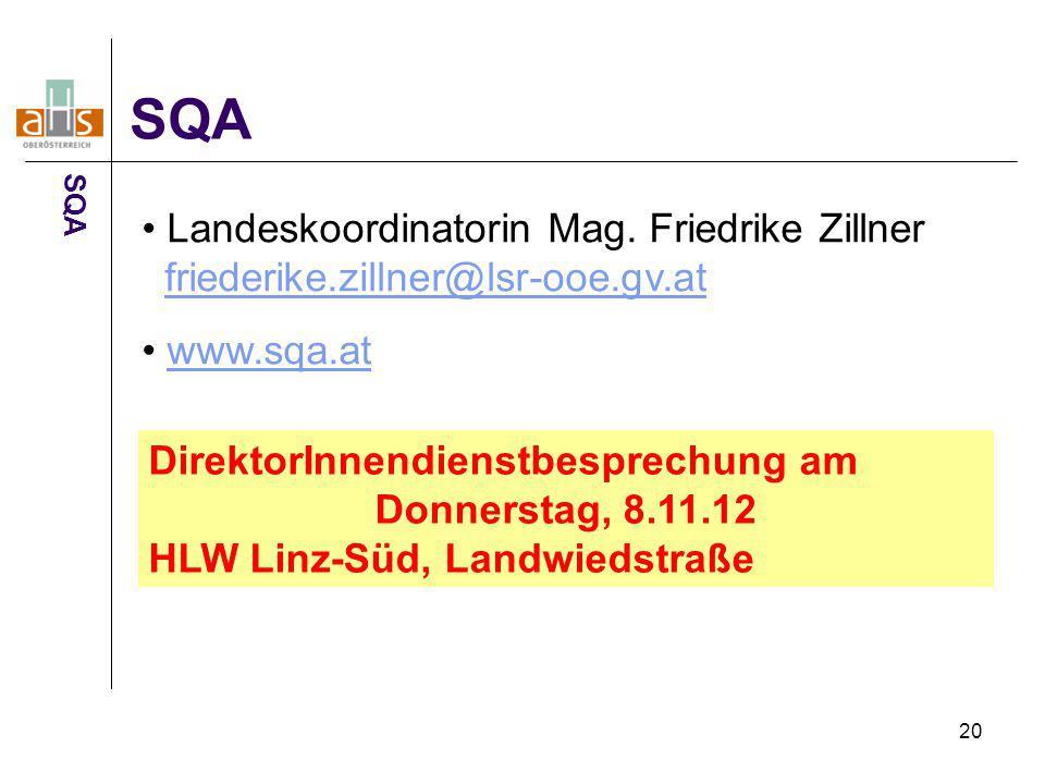 20 SQA Landeskoordinatorin Mag. Friedrike Zillner friederike.zillner@lsr-ooe.gv.atfriederike.zillner@lsr-ooe.gv.at www.sqa.at DirektorInnendienstbespr