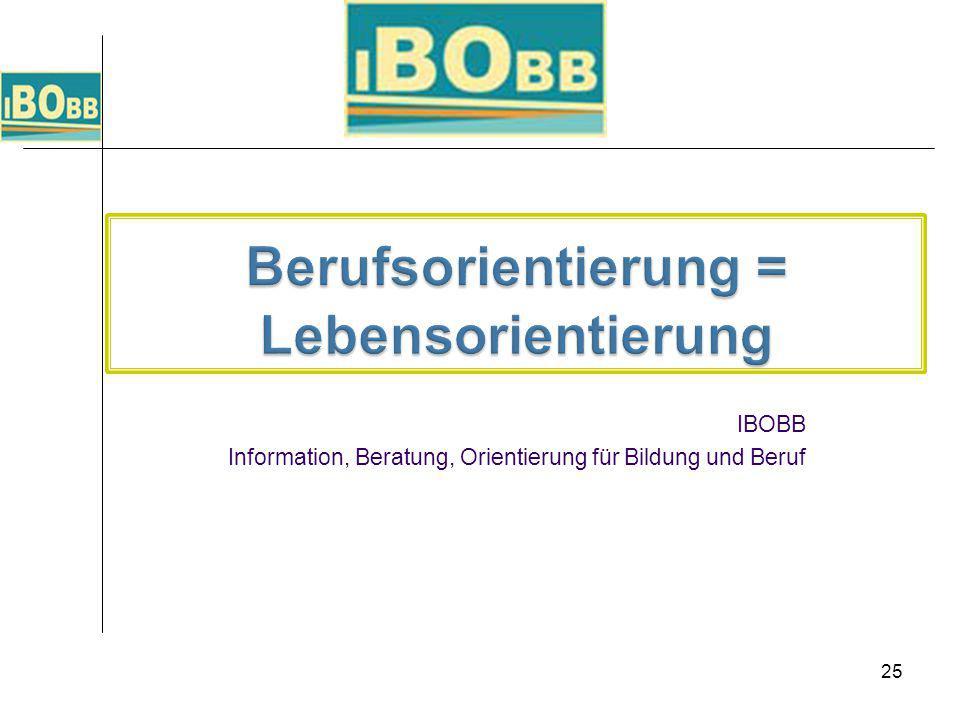 25 IBOBB Information, Beratung, Orientierung für Bildung und Beruf
