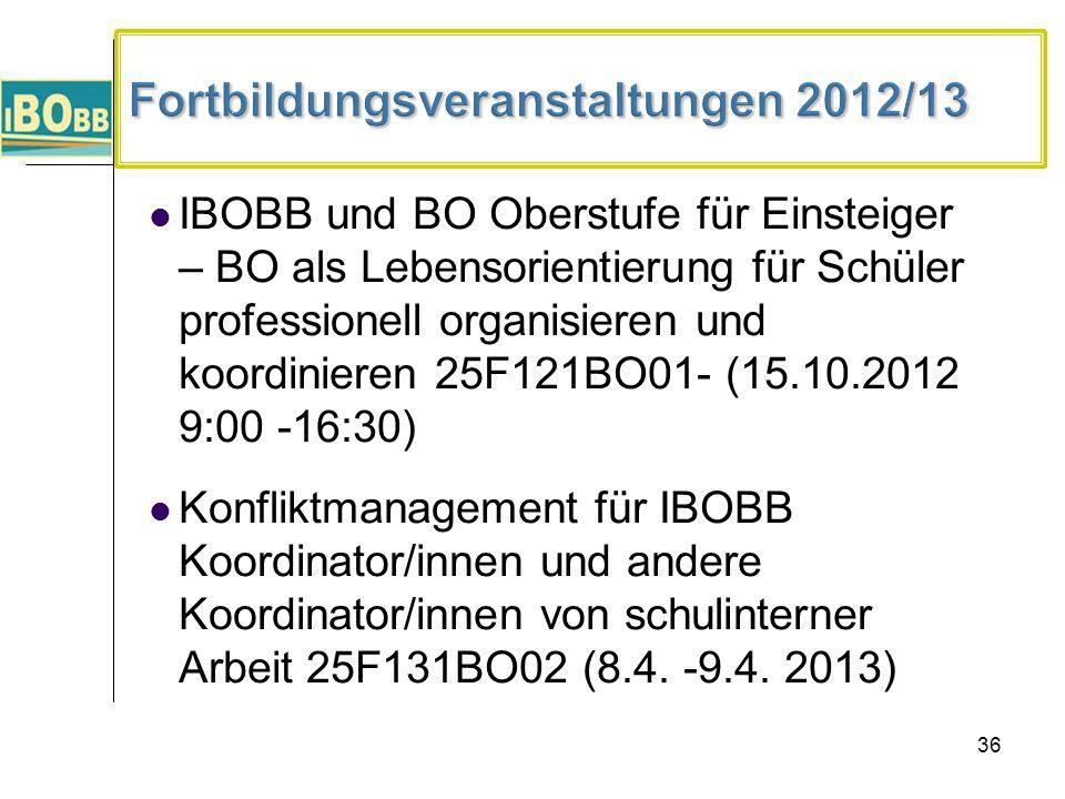 36 IBOBB und BO Oberstufe für Einsteiger – BO als Lebensorientierung für Schüler professionell organisieren und koordinieren 25F121BO01- (15.10.2012 9