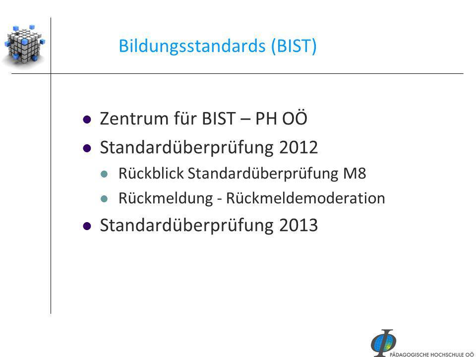 38 Bildungsstandards (BIST) Zentrum für BIST – PH OÖ Standardüberprüfung 2012 Rückblick Standardüberprüfung M8 Rückmeldung - Rückmeldemoderation Stand