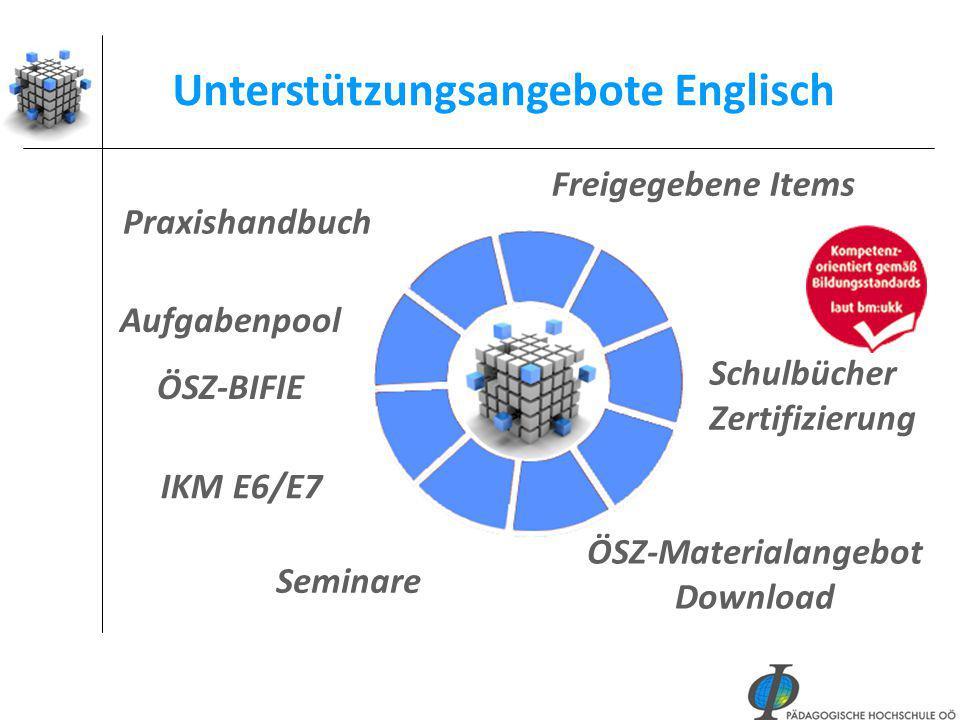 46 Praxishandbuch ÖSZ-Materialangebot Download Aufgabenpool ÖSZ-BIFIE Unterstützungsangebote Englisch Freigegebene Items IKM E6/E7 Seminare Schulbüche
