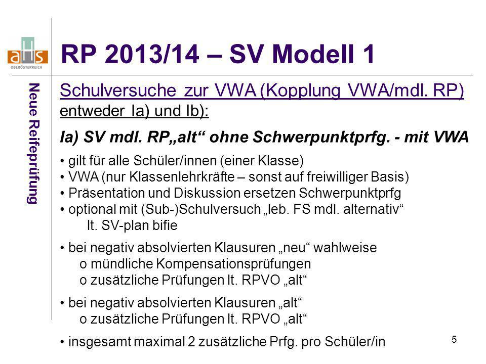 """5 Neue Reifeprüfung Schulversuche zur VWA (Kopplung VWA/mdl. RP) entweder Ia) und Ib): Ia) SV mdl. RP""""alt"""" ohne Schwerpunktprfg. - mit VWA gilt für al"""