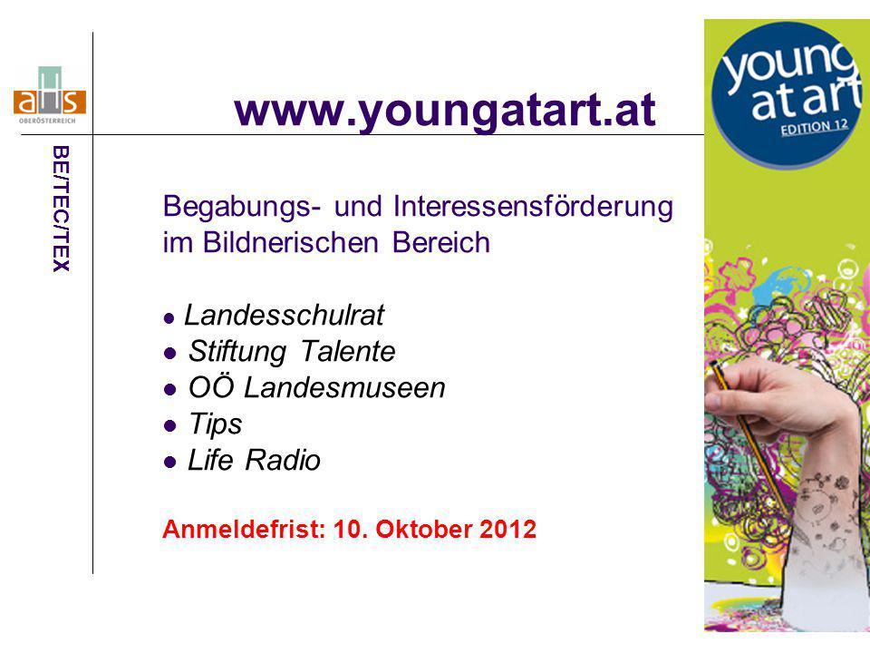 www.youngatart.at Begabungs- und Interessensförderung im Bildnerischen Bereich Landesschulrat Stiftung Talente OÖ Landesmuseen Tips Life Radio Anmelde