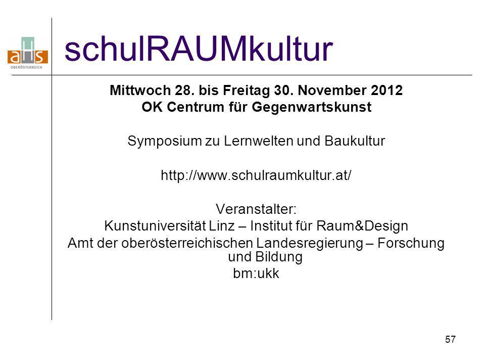 57 schulRAUMkultur Mittwoch 28. bis Freitag 30. November 2012 OK Centrum für Gegenwartskunst Symposium zu Lernwelten und Baukultur http://www.schulrau