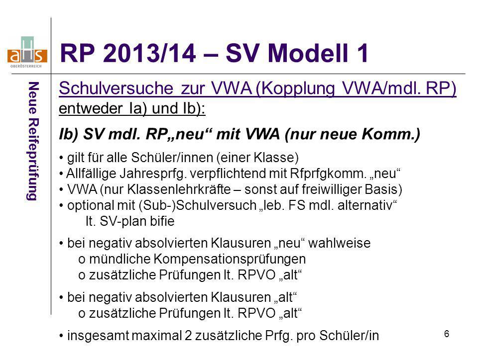 """6 Neue Reifeprüfung Schulversuche zur VWA (Kopplung VWA/mdl. RP) entweder Ia) und Ib): Ib) SV mdl. RP""""neu"""" mit VWA (nur neue Komm.) gilt für alle Schü"""