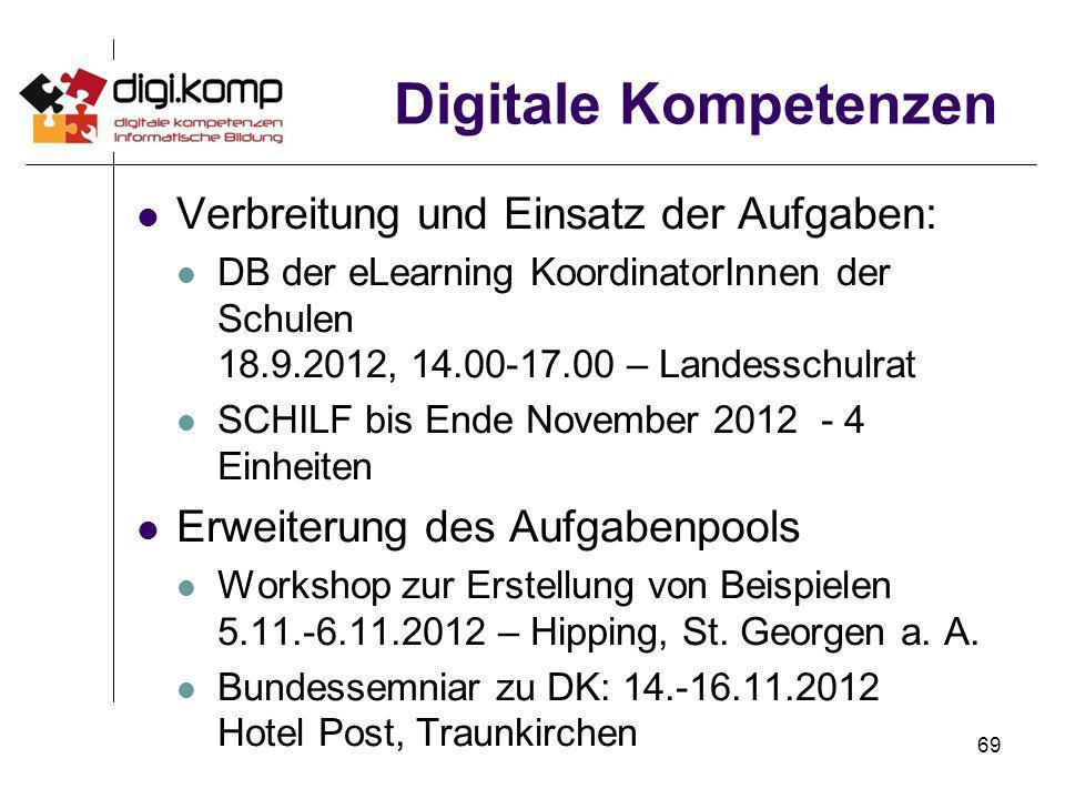 69 Digitale Kompetenzen Verbreitung und Einsatz der Aufgaben: DB der eLearning KoordinatorInnen der Schulen 18.9.2012, 14.00-17.00 – Landesschulrat SC