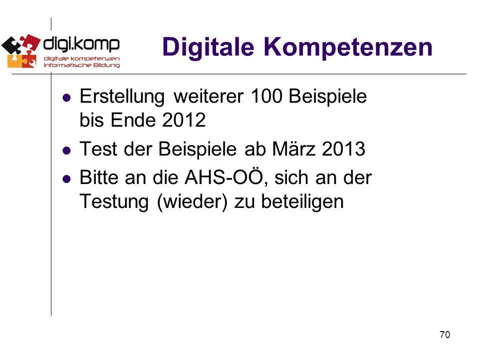 70 Digitale Kompetenzen Erstellung weiterer 100 Beispiele bis Ende 2012 Test der Beispiele ab März 2013 Bitte an die AHS-OÖ, sich an der Testung (wied