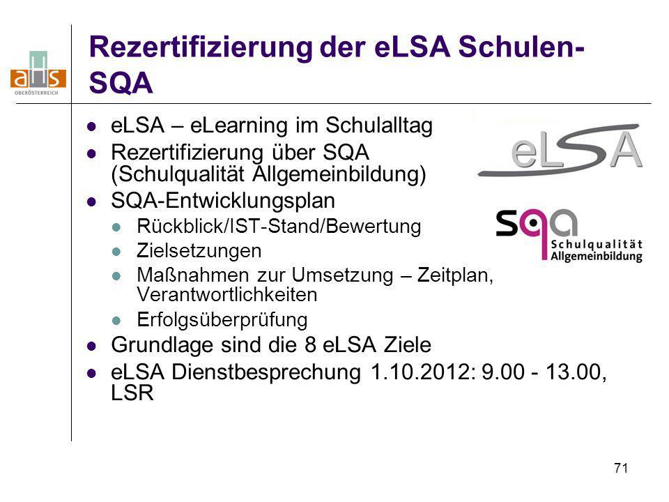 71 Rezertifizierung der eLSA Schulen- SQA eLSA – eLearning im Schulalltag Rezertifizierung über SQA (Schulqualität Allgemeinbildung) SQA-Entwicklungsp