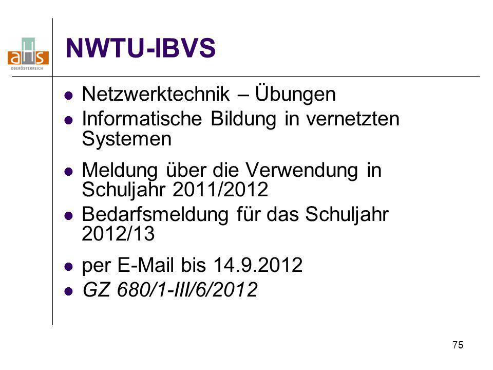 75 NWTU-IBVS Netzwerktechnik – Übungen Informatische Bildung in vernetzten Systemen Meldung über die Verwendung in Schuljahr 2011/2012 Bedarfsmeldung