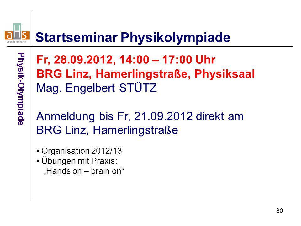 80 Startseminar Physikolympiade Fr, 28.09.2012, 14:00 – 17:00 Uhr BRG Linz, Hamerlingstraße, Physiksaal Mag. Engelbert STÜTZ Anmeldung bis Fr, 21.09.2