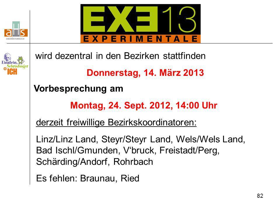 82 wird dezentral in den Bezirken stattfinden Donnerstag, 14. März 2013 Vorbesprechung am Montag, 24. Sept. 2012, 14:00 Uhr derzeit freiwillige Bezirk