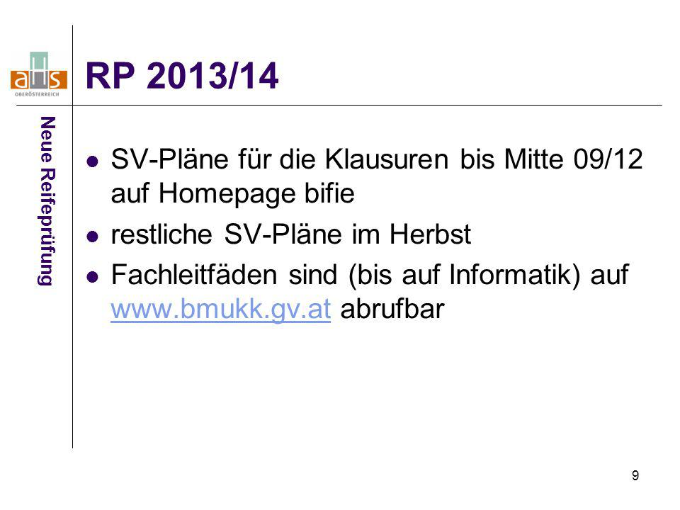 9 RP 2013/14 Neue Reifeprüfung SV-Pläne für die Klausuren bis Mitte 09/12 auf Homepage bifie restliche SV-Pläne im Herbst Fachleitfäden sind (bis auf