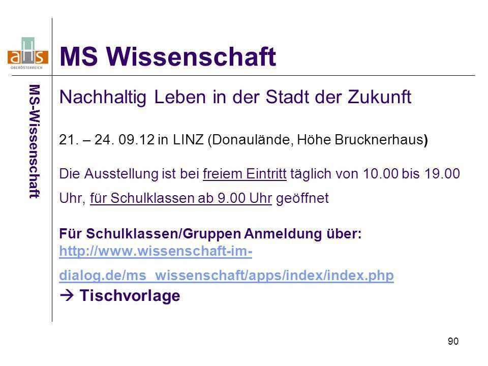 90 Nachhaltig Leben in der Stadt der Zukunft 21. – 24. 09.12 in LINZ (Donaulände, Höhe Brucknerhaus) Die Ausstellung ist bei freiem Eintritt täglich v