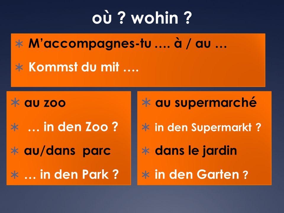où ? wohin ?  M'accompagnes-tu …. à / au …  Kommst du mit ….  au zoo  … in den Zoo ?  au/dans parc  … in den Park ?  au supermarché  in den Su