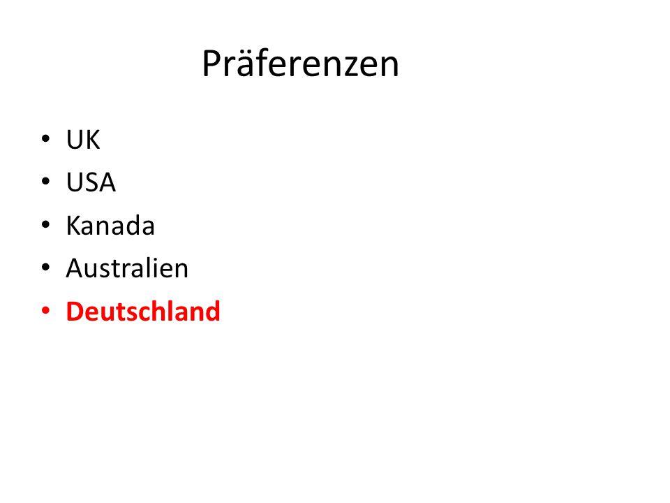 Präferenzen UK USA Kanada Australien Deutschland