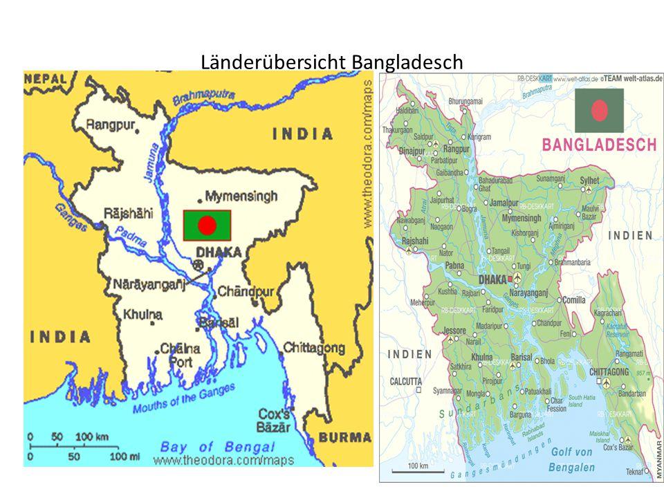 Volksrepublik Bangladesch Staatsform: Dynastisch geprägte Parlamentsdemokratie Fläche: 147 570 km² Einwohnerzahl: 160 Millionen auf 147 570 km² = 1.257 Einwohner pro km² (Deutschland: 233, Usbekistan: 67)