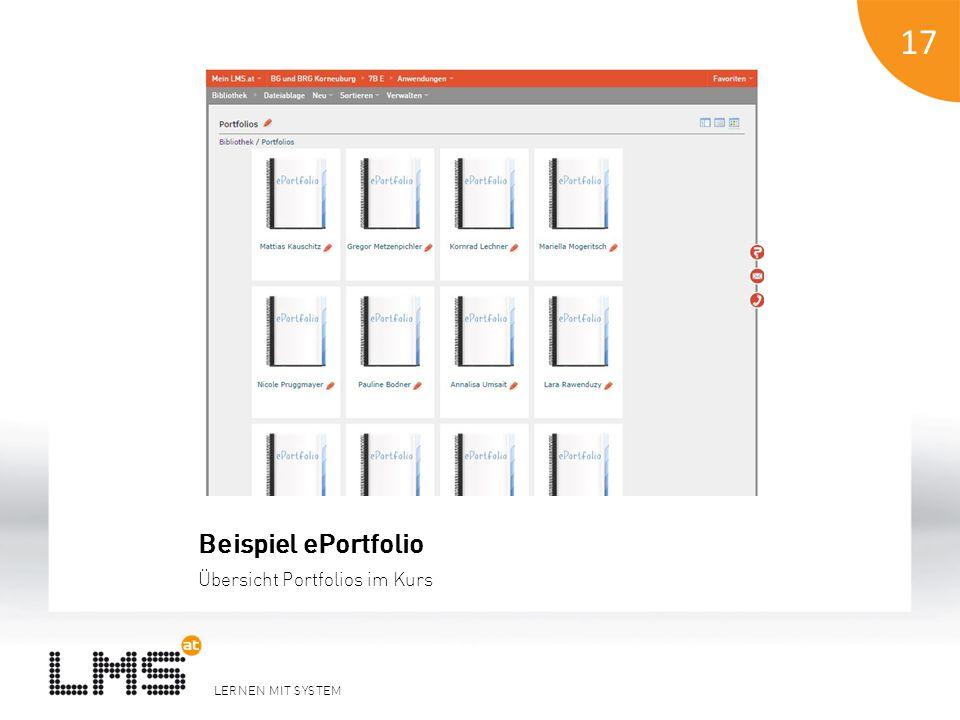 LERNEN MIT SYSTEM 18 Beispiel ePortfolio Inhaltsverzeichnis 18