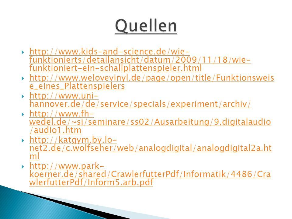  http://www.kids-and-science.de/wie- funktionierts/detailansicht/datum/2009/11/18/wie- funktioniert-ein-schallplattenspieler.html http://www.kids-and