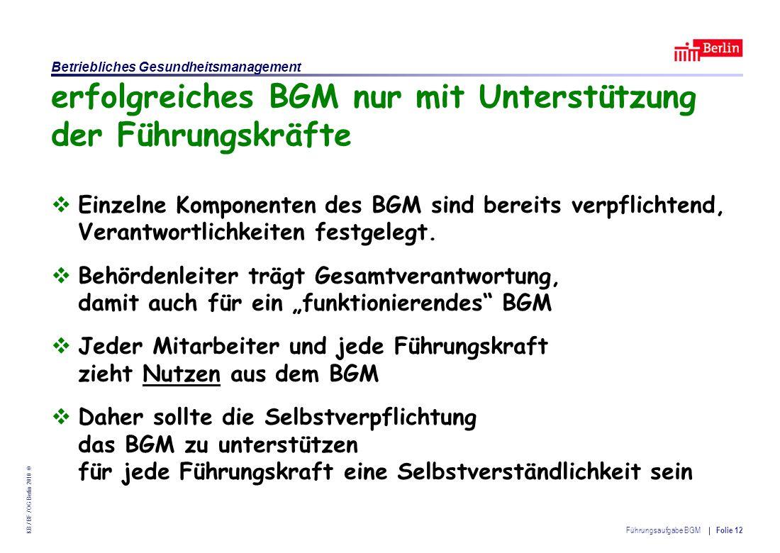 Einrichtung des Landes Berlin – Betriebliches Gesundheitsmanagement KB / BF / OG Berlin 2010 © Führungsaufgabe BGM Folie 12 erfolgreiches BGM nur mit Unterstützung der Führungskräfte  Einzelne Komponenten des BGM sind bereits verpflichtend, Verantwortlichkeiten festgelegt.